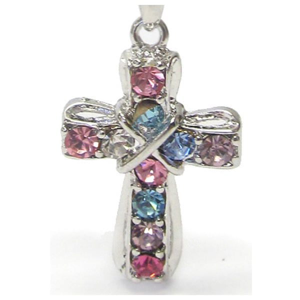 Adorable Pastel Crystal Cross Whitegold Necklace