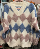 SANTAS LITTLE HELPER SPECIAL! Thick Oatmeal Blue Angora Sweater