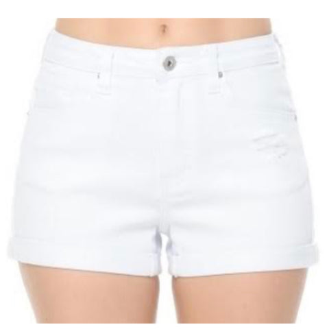 High Rise Destroyed White Denim Shorts