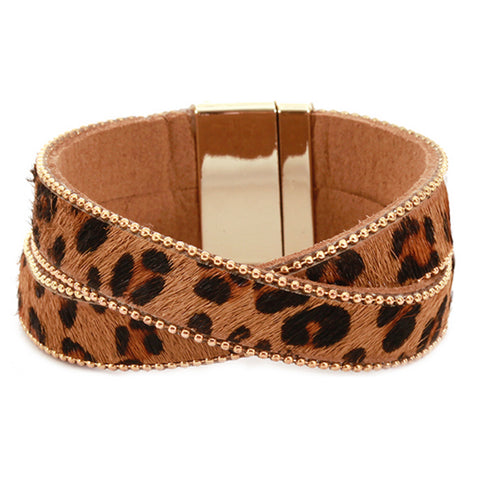 Double Layer Animal Print Magnetic Bracelet