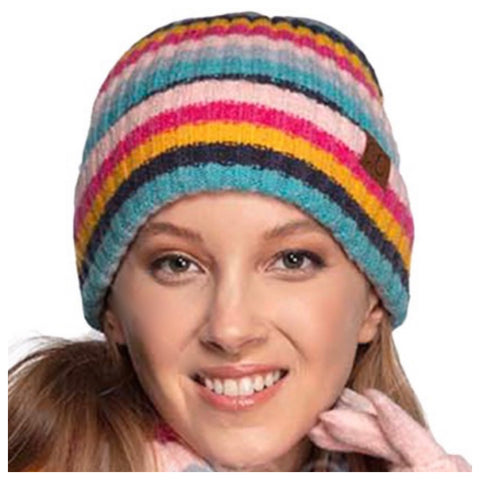 Multi Striped Ribbed Knit CC Beanie
