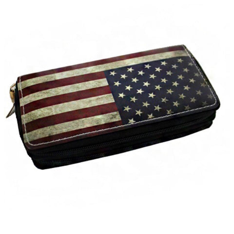 Always a Must-Rustic American Flag Dual Side Wallet-