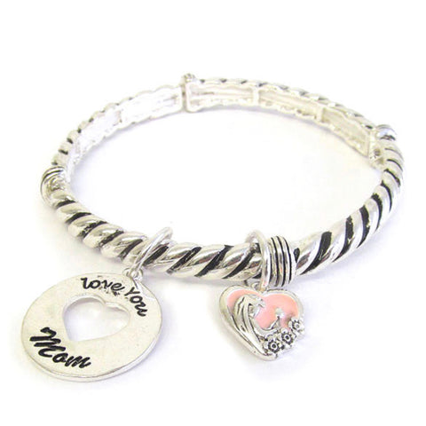 Inspirational Love You Mom Charm Silver Bracelet