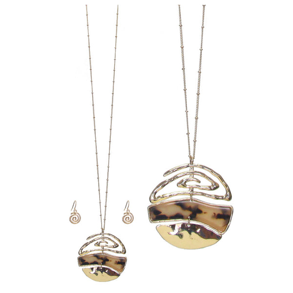 Organic Tortoise Shell Long Disc Pendant Necklace Set
