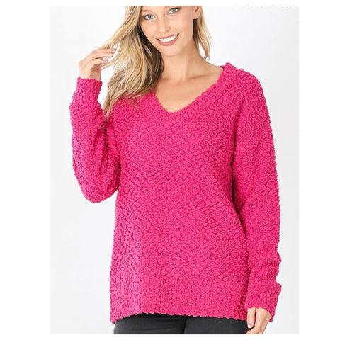 Casually Classy Hot Pink V Neck Popcorn Sweater