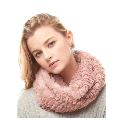 Silky Fluffy Soft Pink Faux Fur Infinity Scarf