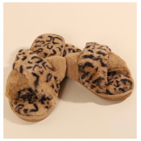 Pamper Your Feet, Faux Fur Tan Leopard Slippers