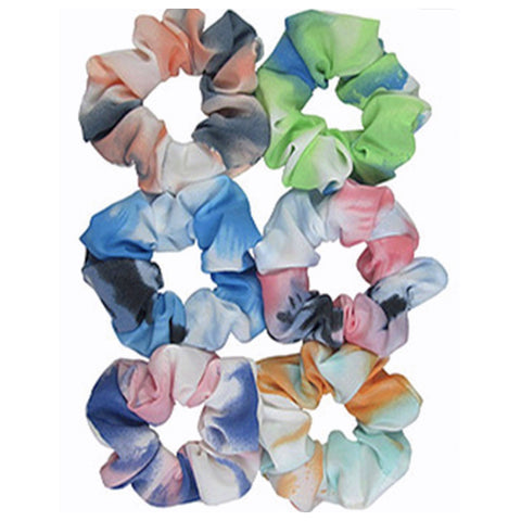 Set of 2 Vibrant Tie-dye Hair Scrunchies