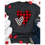 Be Mine, Red White Buffalo Plaid Heart Top