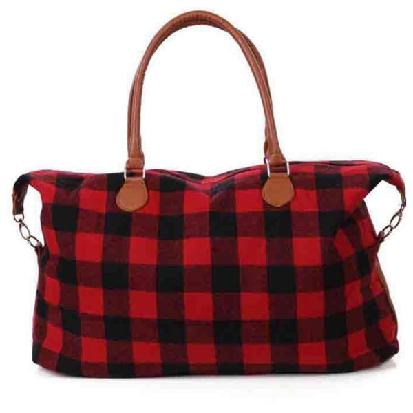 Ready, Set, Go .. Red Buffalo Plaid Weekender Bag
