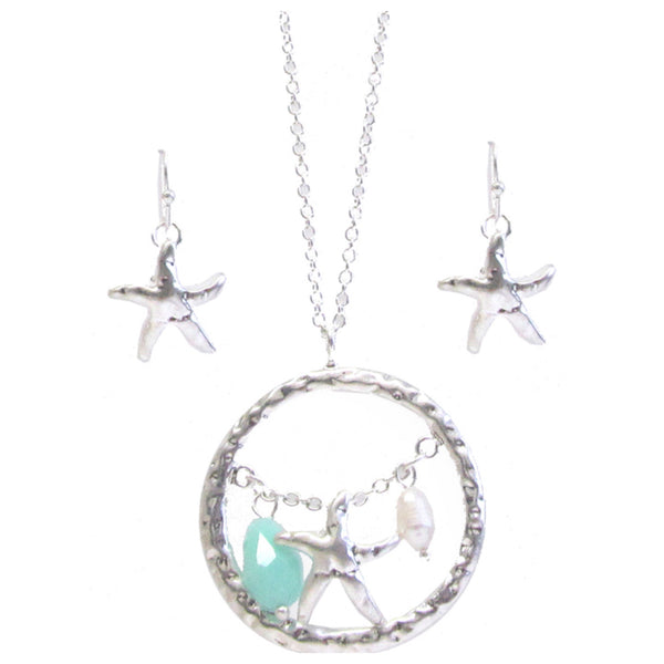 Unique Sea Life Charm Silver Necklace Set