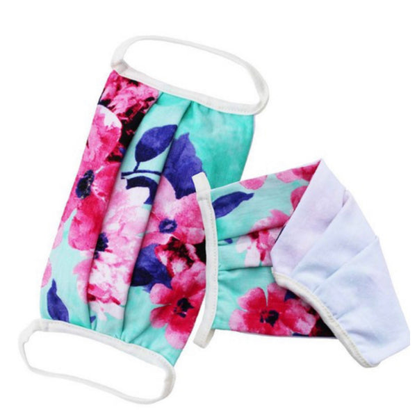 Mint Floral Face Masks - Covid 19