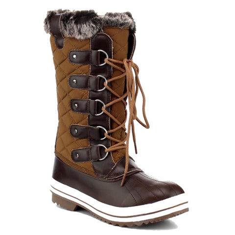 Snow Day, Fur Lined Guilted Tan Snow Boots