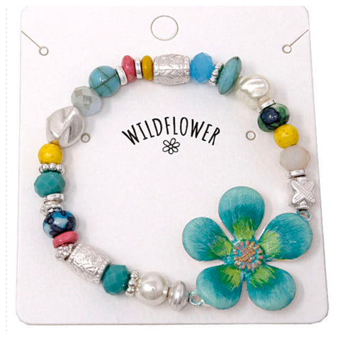 Marbled Bead Mix Teal WildflowerBracelet