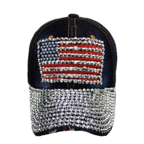 """Patriotic Me"" Red White and Blue, American Flag Dark Denim 'Bling' Hat - Cheryl's Galore and More"