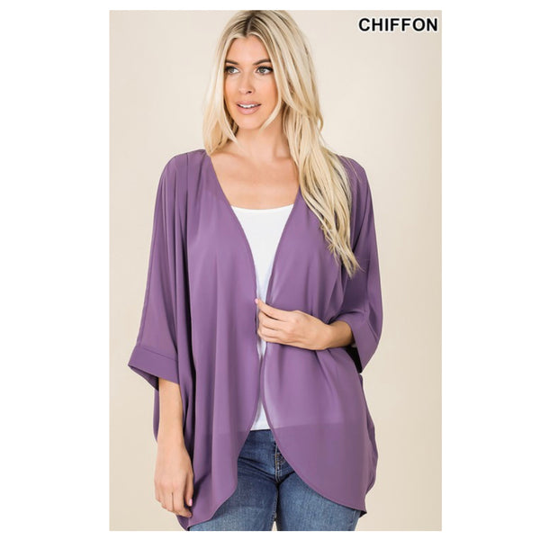 60% off INSANE CLOSEOUT! Spring Nights Chiffon Lilac Grey Cocoon Cardigan