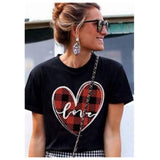 Be Mine! LOVE Red Buffalo Plaid Heart Top