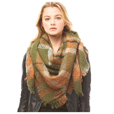 Crazy Soft Olive Plaid Large Blanket Scarf