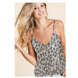 CLOSEOUT! Adorable Grey Leopard Hacci Sleeveless Top