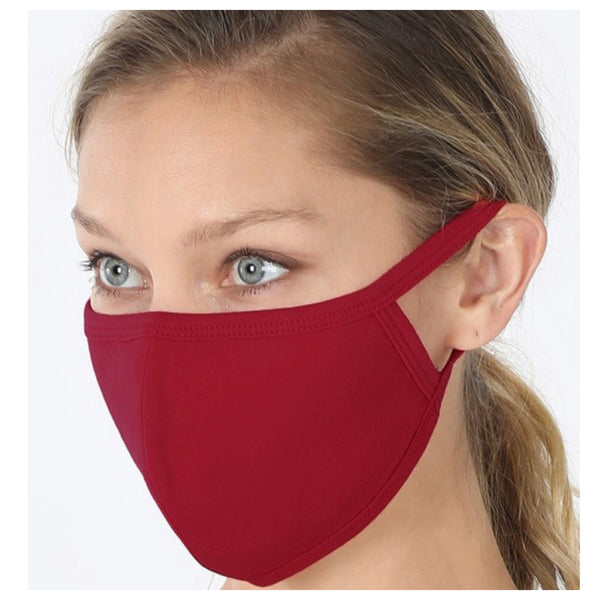 Keeping it in Style! Solid Cabernet Face Mask with Filter Pocket