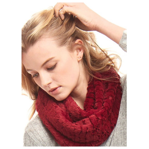 Silky Fluffy Soft Red Faux Fur Infinity Scarf