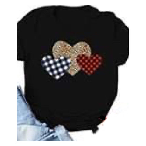 Be Mine, Triple Heart Leopard Buffalo Plaid Black Tee Top