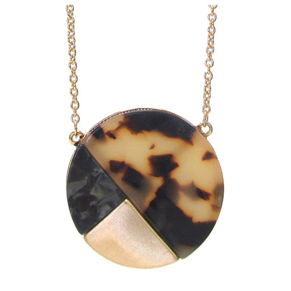 Organic Tortoise Shell Color Block Long Disc Pendant Necklace Set