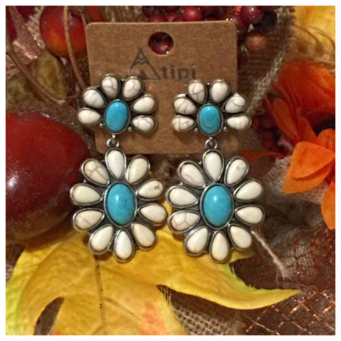 Sale! Western Iconic White Turquoise Stone Earrings