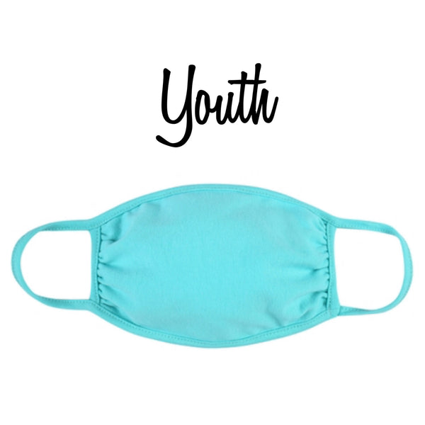 Youth Solid Mint Face Mask - Covid 19