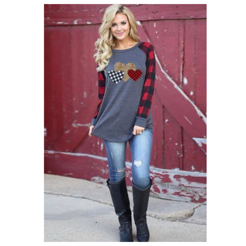 Be Mine! Leopard Buffalo Plaid Heart Long Sleeve Raglan Top