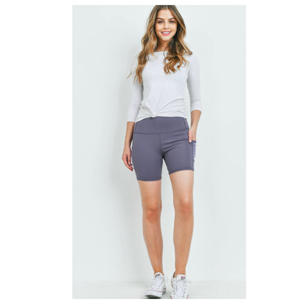 Cozy Purple Biker Athletic Shorts with Side Pocket