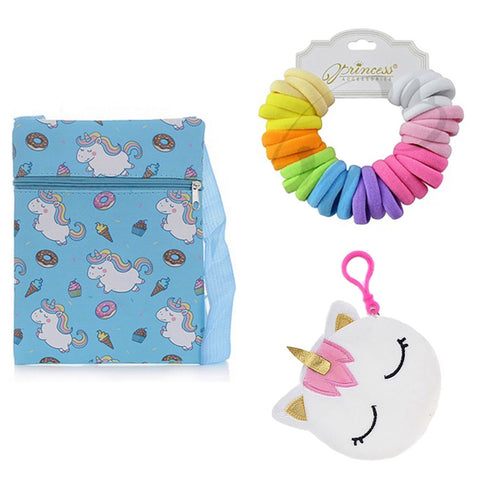 Adorable Unicorn Cross Body Bag and Goodies