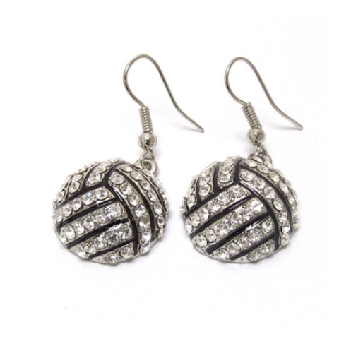 "Crystal ""Bling"" Volleyball Dangle Earrings, Sports, Accessories - Cheryl's Galore and More"