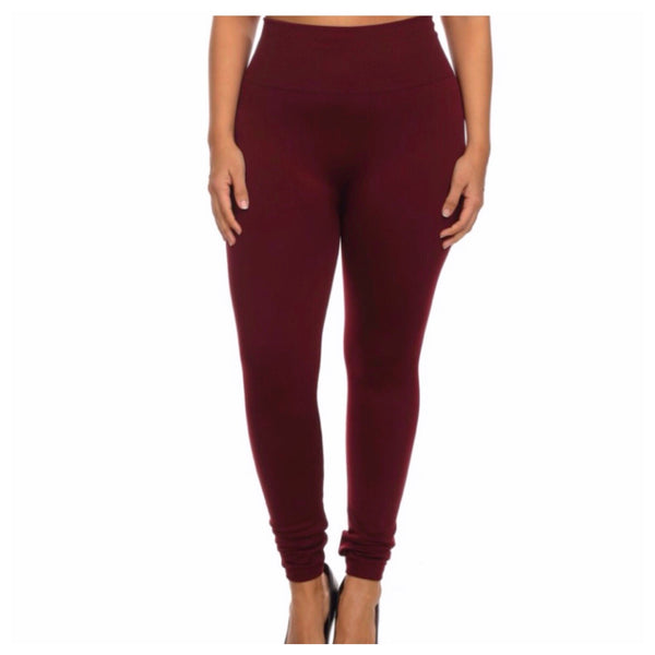 A Bit of Heaven-No Peek-a-Boo See Through Plus Size Burgundy Leggings