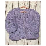 Insanity CLOSEOUT! Stunning Vibrant Lilac Crochet Knit Sweater