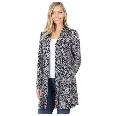 Sassy Me! Grey Leopard Cardigan with Pockets