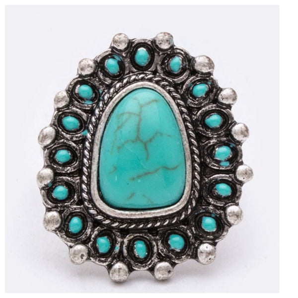 Iconic Turquoise Stone Stretch Ring