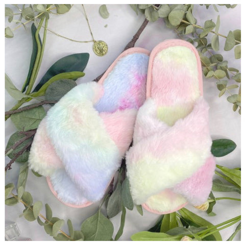 Pamper Your Feet, Faux Fur Tie Dye Slippers