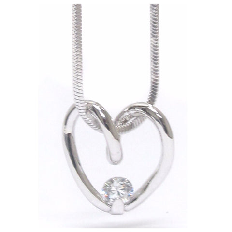 Stunning CZ Accented Heart Charm White Gold Necklace
