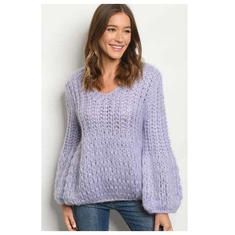 Stunning Vibrant Lilac Crochet Knit Sweater