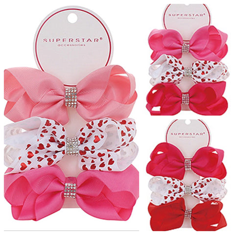 Studded Rhinestone Center 3pc Hair Bow Set