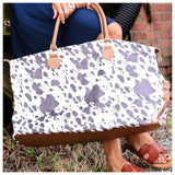 Every Girls Must! Coffee White Cow Print Weekender Bag
