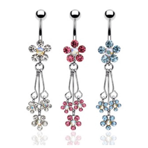 Beautiful Crystal Accented Dangling Flower Spray Belly/Naval Ring - Cheryl's Galore and More - 1