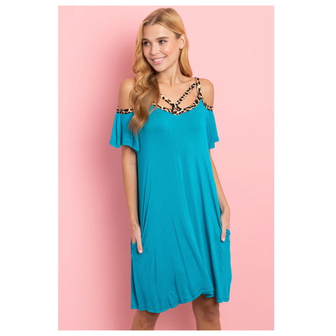 Adorable Cold Shoulder Caged Cutout Leopard Detail Turquoise Dress