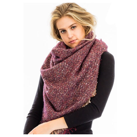 Adorable Me Burgundy Pepper Knit Frayed Scarf
