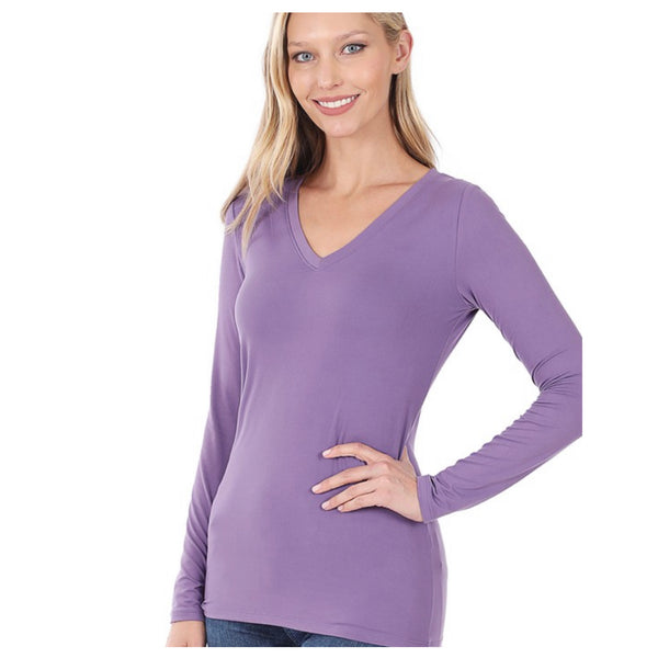 Brushed Microfiber Long Sleeve V Neck Lilac Grey Tee Top