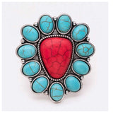 Iconic Turquoise/Coral Stone Adjustable Ring