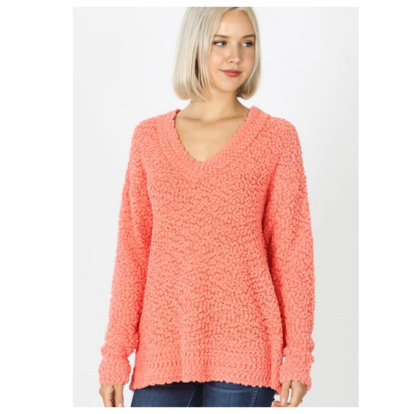 Spring Days Casual to Classy Coral V Neck Popcorn Sweater