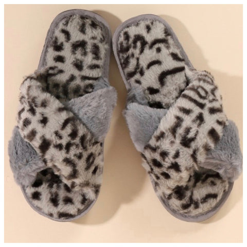 Pamper Your Feet, Faux Fur Grey Leopard Slippers