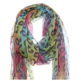 Classic Oblong Multi Color Pastel Striped Leopard Scarf